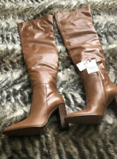 Zara Over The Knee Thigh High Leather Boots Tan RRP £159.99 U.K. 4 EUR 37 US 6