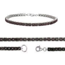 1 CT Natural Black Diamond Bracelet .925 Sterling Silver 7 Inches Length