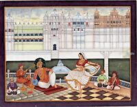 Maharaja Of Mewar Watching Mujara (Lady dance) Handmade Miniature Art Painting