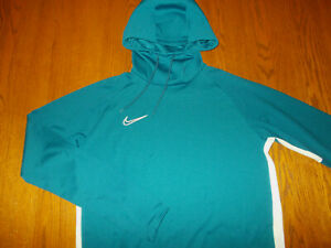 NIKE DRI-FIT TEAL BLUE HOODED SWEATSHIRT MENS LARGE EXCELLENT CONDITION