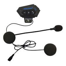 Motorcycle Helmet Headset Intercom Bluetooth Headphones Mic Hands-Free Black