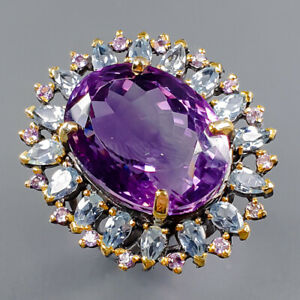 22x17 mm. 35 ct+ Amethyst Ring Silver 925 Sterling  Size 8 /R165570