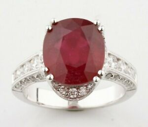 18k White Gold Ruby Solitaire Ring w/ Diamond Accents and Milgrain Detail Sz 6.5