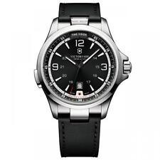 Swiss Army Victorinox 241664 BRAND NEW Mens Night Vision Black Leather Watch