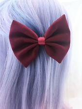 Burgundy Fabric Medium Hair Bow - Deep Red Solid Colour Hair Clip