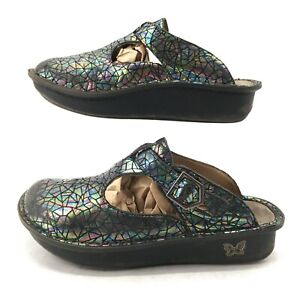 Alegria Womens 38 Classic Tectonic Clog Mule Wedge Sandals Leather Multi ALG-372