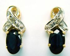 SYJEWELRYEMPIRE ELEGANT 10KT SOLID YELLOW GOLD SAPPHIRE & DIAMOND EARRINGS E823