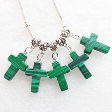 10pcs Malachite Cross Pendant Fit European Bracelet Necklace LL1445