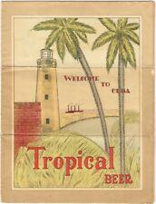 "1930s Cuba Havana Tropical Beer fold out map brochure poster 18½x25"""