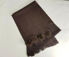 Passigatti Womens Brown Warm Rabbit Fur Fringed Scarf Winter