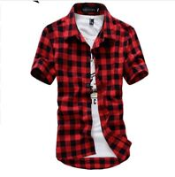 Short Sleeve Plaid Shirt Men's Fashion Clothing Casual Clothes Outerwear Checked