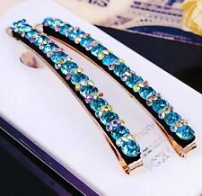 USA Quality Bobby Pin Hair Clip using Swarovski Crystal Hairpin Long AB Blue