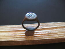 CHI-RO ANCIENT ROMAN SILVER ENGRAVED LEGIONARY SEAL MARK FINGER RING 4-6 ct A.D.