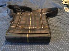 BODHI HANDBAGS  Brown Plaid Leather Trim Messenger Handbag