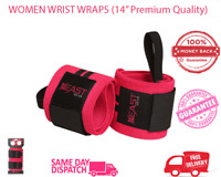 """Women Wrist Wraps (14"""" Premium Quality) - Best Wrist Support with Thumb Loop."""