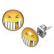 Smiley Smile 10 mm Logo Cabochon Ohrstecker aus Edelstahl Neu