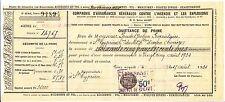 ORDRE DE PAIEMENT COMPAGNIES ASSURANCES GENERALES 1934  BRIVES  TIMBRES FISCAUX