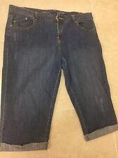 Avenue Blue Denim Boyfriend Jean Capri Shorts Size Women's 16 Cotton Blend