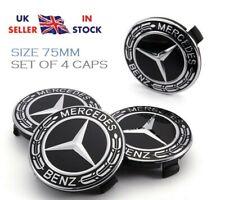 New Mercedes Benz Alloy Wheel Centre HUB Caps 75mm Badges Black Emblem A C E G S