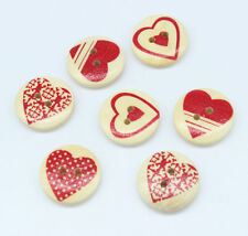 30PC Mixed Wooden Buttons Red Heart Pattern Fit Sewing DIY Scrapbook 20mm V07