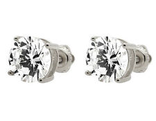 White Gold Finish Sterling Silver Simulated Diamond 8.5MM Diameter Stud Earring