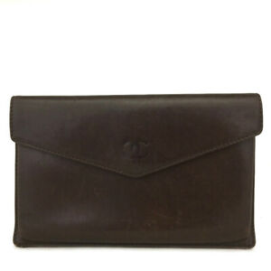 CHANEL CC Logo Brown Leather Long Bifold Wallet /C1031