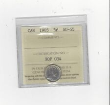 **1905 Slender 8**,ICCS Graded Canadian,  5 Cent, **AU-55**
