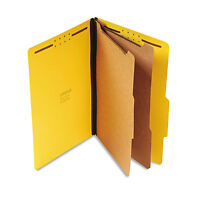 UNIVERSAL Pressboard Classification Folders Legal Six-Section Yellow 10/Box