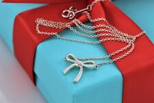 "Tiffany & Co. Sterling Silver Mini Ribbon Bow Charm Pendant 16"" Necklace w/Pouch"