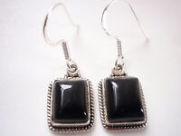 Black Onyx with Fine Rope Style Accents 925 Sterling Silver Dangle Earrings