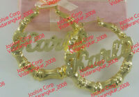 """PERSONALIZED 14K GP 3:00""""  LARGE BAMBOO NAME EARRINGS ANY NAME UP TO 9 LETTERS"""