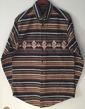Vtg Woolrich Southwest Aztec Navajo Cotton Flannel Chamois Shirt Men's Medium