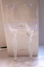 Hallmark Wedding Toasting Flutes Sculpted Glass Bride Groom - NIB Factory Sealed
