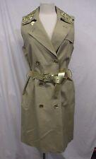 Michael Kors L Khaki Belted Gold Studded Sleeveless Trench Dress MSRP $195 H16