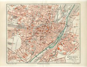 1897 GERMANY MUNICH CITY PLAN Antique Map dated