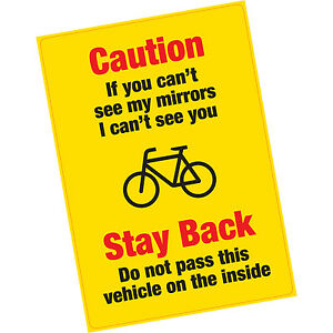 Caution If You Can't See My Mirrors Vinyl Warning Sticker HGV Lorry Cyclists