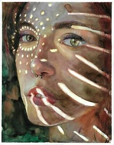 original painting 24x30 cm 228GK art samovar Watercolor female portrait Realism