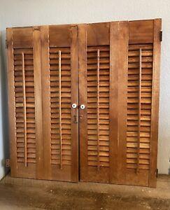"Vintage Wood Louvered Bi-Fold Plantation Shutters (Set of 2) 14"" x 29"" EUC"