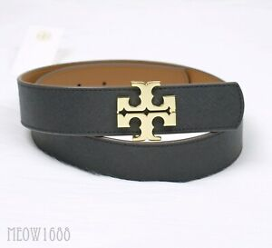 "Authentic Tory Burch 1 1/2"" 1.5"" Black Classic Tan Reversible Logo Belt 39079"