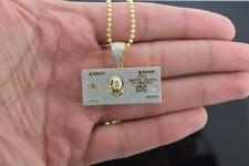 Mens Hip Hop Yellow Sterling Silver Iced out $100 Dollar Bill Pendant w/ Chain
