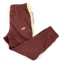 Nike Sportswear Club Fleece Striped Sweatpants Maroon Dark Red Beige Men's Large