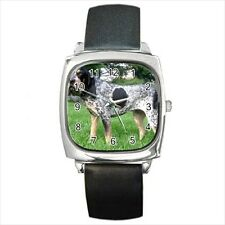 Bluetick Coonhound Square Round & Square Leather Strap Watch - Dog Puppy