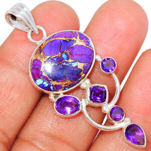 Copper Purple Turquoise & Amethyst 925 Sterling Silver Pendant Jewelry BP58416