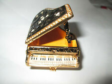 Grand Piano Bejeweled Trinket Box Black With Inlaid Swarovski Crystals