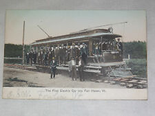 VINTAGE 1907 FIRST ELECTRIC CAR into FAIR HAVEN VT  POSTCARD