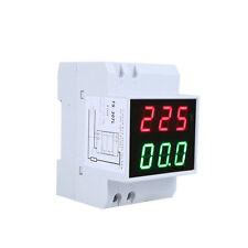 NEW Digital LED Dual Din Rail Ammeter Voltmeter Voltage Current Meter AC80-300V