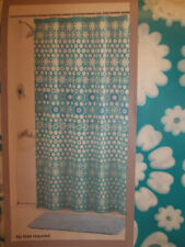 PEVA VINYL SHOWER CURTAIN BLUE WITH WHITE FLOWERS