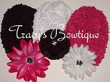 Baby Toddler Crochet Interchangeable Waffle Beanie Hats Caps w/ Flower Clips #4