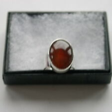 925 Silver Ring With Carnelian 5.1Gr.2 x 1.4 Cm Wide. Size  M - M12 Only In Box