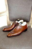 Scarpe stringate monopezzo in vera pelle marrone da uomo fatte a mano